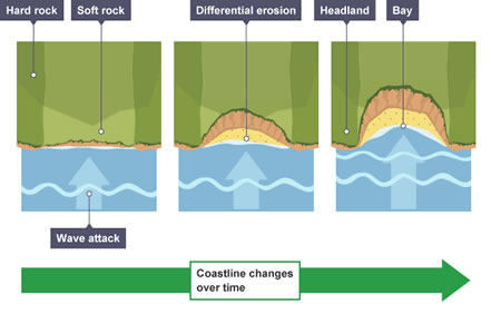 Image result for formation of bays and headlands