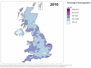 Image result for map  over 65 uk